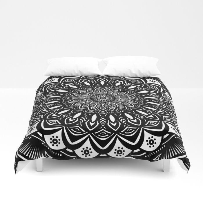 Bold Mandala Black and White Simple Minimal Minimalistic Duvet Cover