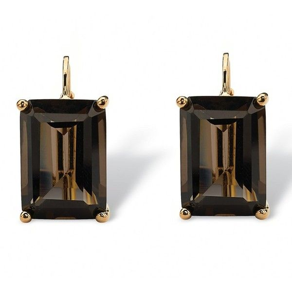 Seta Jewelry 14.50 Tcw Emerald-Cut Smoky Quartz Drop Earrings In 18k... ($32) ❤ liked on Polyvore featuring jewelry, earrings, smoky, 18k gold plated earrings, smokey quartz jewelry, emerald cut drop earrings, smokey quartz earrings and gold plated earrings