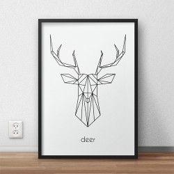 """Skandynawski plakat przedstawiający głowę jelenia i napisem """"deer"""" do powieszenia na ścianie"""