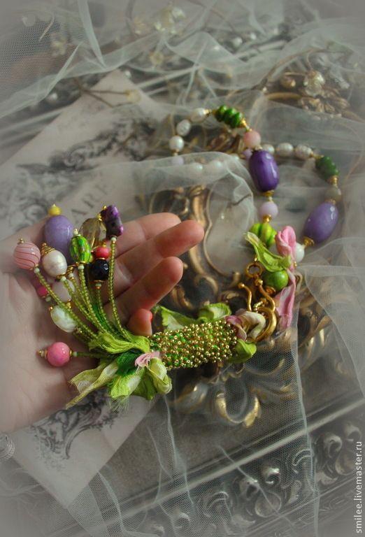 """Купить Колье из жемчуга и натуральных камней """"Flos florum"""" для Леры. - колье ручной работы"""