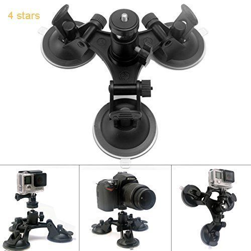 Fantaseal Super Tri-Cup Camera Suction Mount DSLR Camera Action Cam Camcorder Car Mount Wall Mount Glass Mount Window Mount Windshield Mount Car Support Holder for GoPro Suction Mount GoPro Holder Mount w/ Camera Ball Head Tripod Mount for GoPro Hero 5/ 4 /3/3/ Session / SJCAM SJ4000 / SONY HDR AS-10 AS-15 AS-20 AS-30 AS-50 AS-100 AS-200 AZ-1 FDR / Garmin Virb XE / Xiaomi Yi / DBPOWER QUMOX etc  Nikon Canon Sony Pentax Olympus Panasonics Lumix Ricoh Kodak Casio etc DSLR Camera / Camcorder