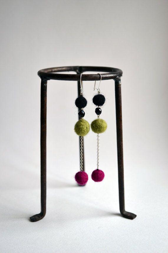Chandelier Earrings  Felted Earrings  Dangle Earrings  by lyralyra, $16.00