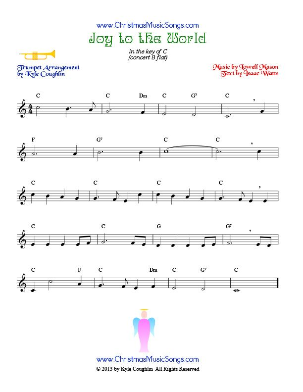Christmas Trumpet Images.The Christmas Carol Joy To The World Arranged For Trumpet