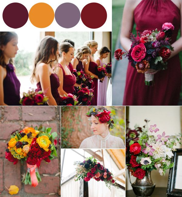 Hot Fall Wedding Colour Combinations 2014 Burgundy Orange And Purple