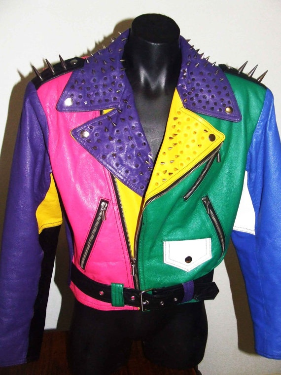 80s 90s womens fierce LEATHER jacket with spikes multi colored lady gaga RARE size Small