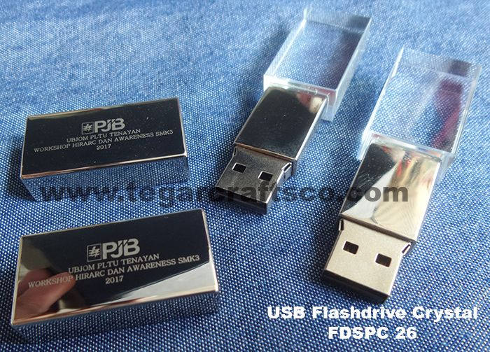 A crystal USB Flashdrive type FDSPC26 capacity 8GB. As shown above a flashdrive for workshop participants at HIRARC and Awareness SMK3 2017(Hazards Identification, Risk Assessment and Risk Control Management System Occupational Safety and Health (SMK3) events that held by UBJOM PJB power plant UBJOM Tenayan Raya, Sail Pekanbaru Riau Indonesia