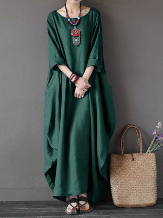 Women Casual Loose Pure Color Baggy Dress 3/4 Sleeve Maxi Dresses