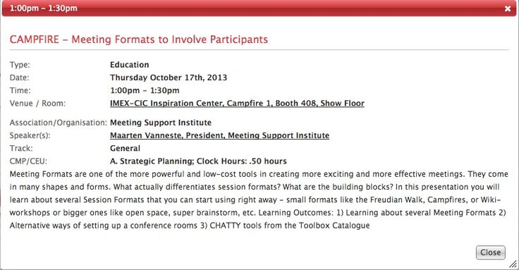 In Vegas attending #IMEX13? Don't miss the session on Hybrid Meetings and the one on Meeting Formats  Today at Tech Hub at 11:30 you will see how to go Hybrid, picking up fresh ideas on how to produce Hybrid Meetings and how to design a good interaction between the on-site and the on-line audience.  Tomorrow the session about Meeting Formats will be at 1:00 pm at the Inspiration Center, Campfire 1, Booth 408.