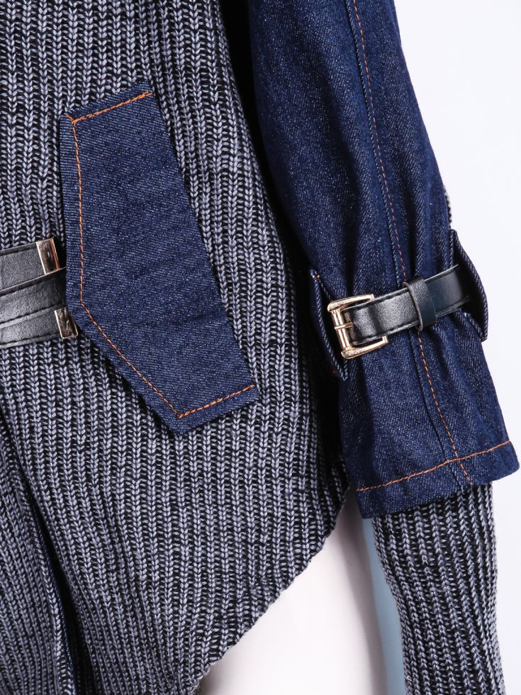 Blue Contrast Denim Lapel Knit Sweater -SheIn(Sheinside)