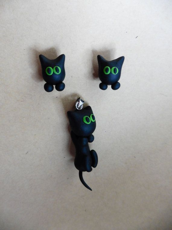 Black Cat Set Earrings and Pendant Handmade Polymer Clay