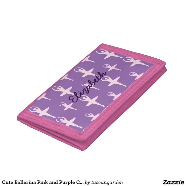 Cute Ballerina Pink and Purple Custom Tri-fold Wallets A pretty A pretty pattern of pink ballerinas on a purple background you can personalize with your name in a custom template area creates a cute dance inspired pattern of pink ballerinas on a purple background you can personalize with your name in purple script using an easy custom template area to make a cute ballet wallet.