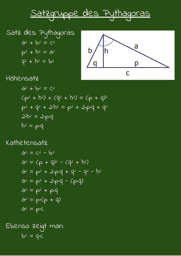 Satzgruppe des Pythagoras Satz des Pythagoras & Höhensatz & Kathetensatz