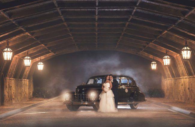 Vintage car wedding photo | Glamorous Glitter Wedding at Bella Collina in Montverde, FL. Orlando wedding planner designed glitter wedding. Full Service Luxury Wedding Planner. | Photo by KV Photography