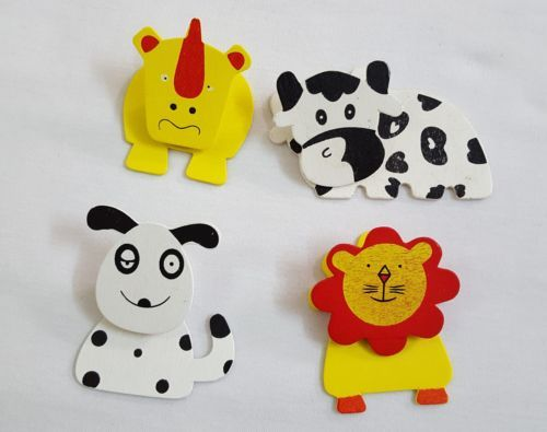 FUNNY-STYLE-FRIDGE-WOODEN-MAGNETS-PAPER-HOLDER-SET-OF-4