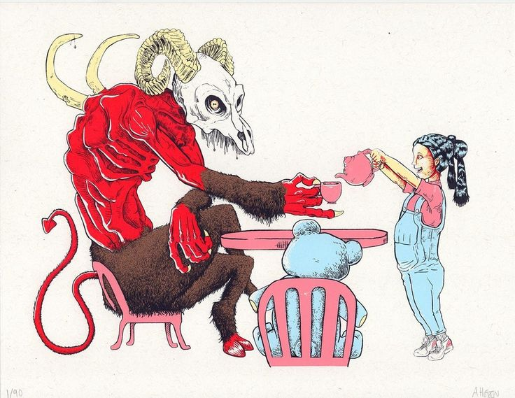 Tea party 6 color screenprint 8 5x11 art