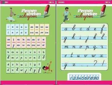 De letterposter van groep 3 van de meest gebruikte schrijfmethode op basisscholen: Pennenstreken.