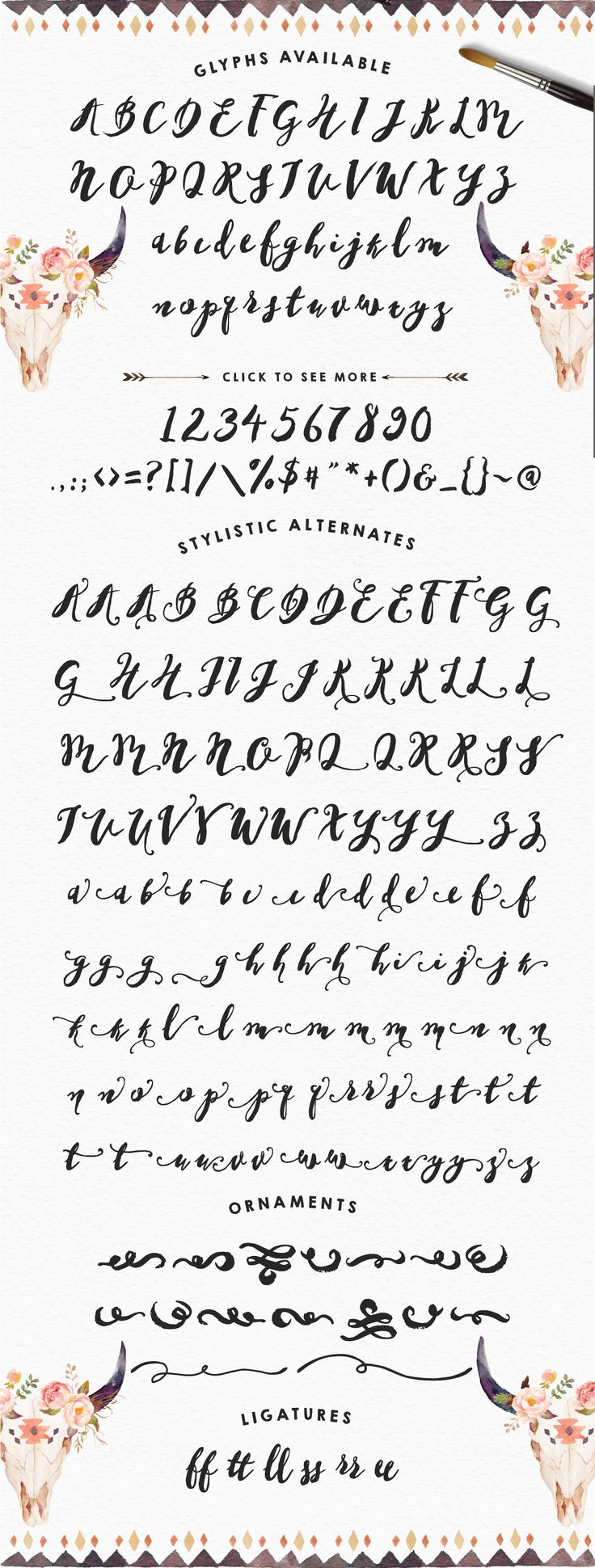 Love this hand brushed typeface. Tons of swirls, swashes, and alternate characters. Wow! LOVE.