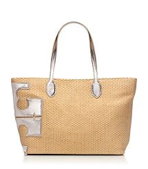 """Metallic Stacked """"T"""" Tote"""