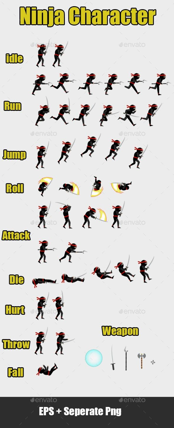 ninja character 2d vector sprites   game character design, pixel art games,  game concept art  pinterest