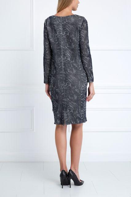 Шерстяное платье Pallari - Свободное платье серого цвета с абстрактным орнаментом в интернет-магазине модной дизайнерской и брендовой одежды
