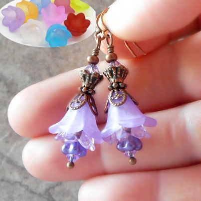 acrylic flower beads in earring design bestbuybeads