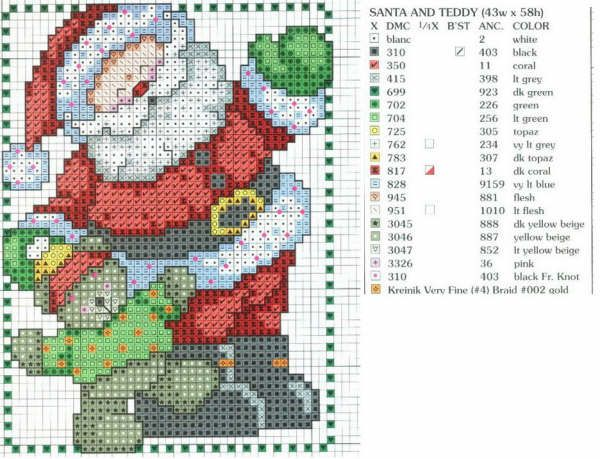 Santa cross stitch pattern