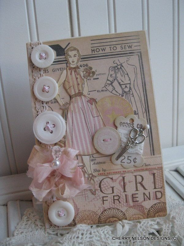 shabby chic 1950s lady card- GIRLFRIEND card- pattern sewing handmade card. $8.75, via Etsy.