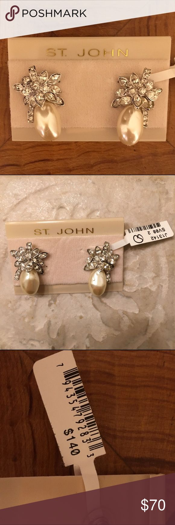 Dazzling St. John Pearl earrings Given to me over a decade ago. These earrings are a true classic statement. Never worn. St. John Jewelry Earrings