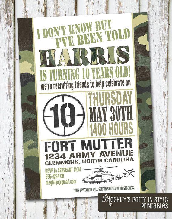 Military Birthday Invitation by Meghilys on Etsy, $10.00