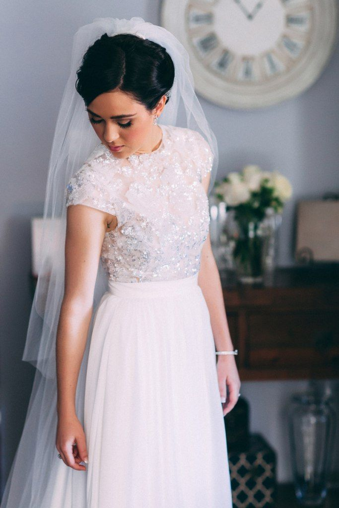 Bride in her beautiful two piece Wedding Dress.