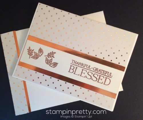 Paisleys & Petals fall thank you card.  Mary Fish, Stampin' Up! Demonstrator.  1000+ StampinUp & SUO card ideas.  Read more http://stampinpretty.com/2016/09/copper-dazzles-this-simple-thank-you-card.html