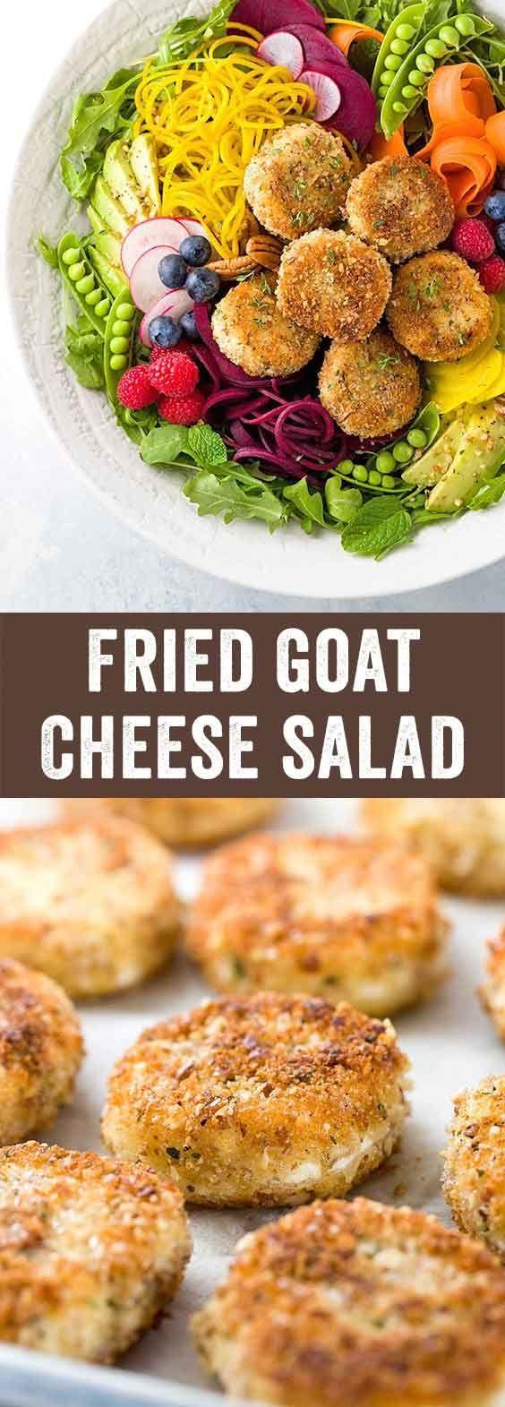 Fried Goat Cheese Salad - Fresh spring vegetable salad recipe with arugula, beets, carrots, peas, avocado and raspberry poppyseed dressing. via @foodiegavin