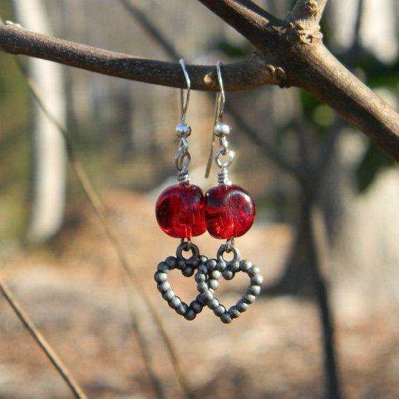 Red earrings heart earrings beaded earrings romantic jewelry valentines day anniversary gift beaded jewelry