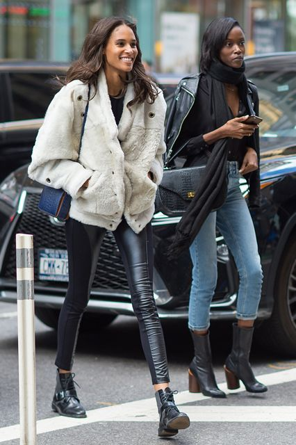 30+ Outfits We Spotted Outside The Victoria's Secret Casting Call #refinery29  http://www.refinery29.com/victorias-secret-angel-model-off-duty-street-style#slide-25  Cindy Bruna & Riley MontanaTwo-panel leather-leggings game strong on Bruna. And there's Montana with the French-girl scarf vibes....