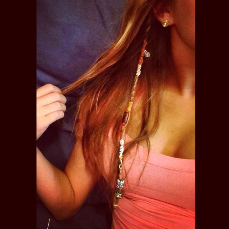 String hair wrap with beads