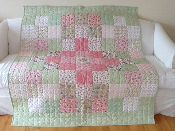 Summer Rose Sofa Lap Quilt Throw Shabby Chic Cottage Quilt 53