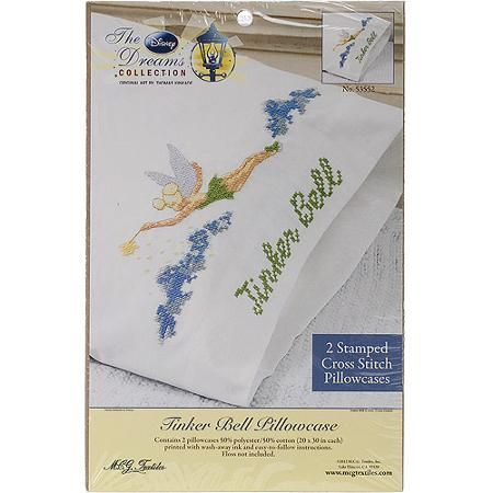 """Disney Dreams 20"""" x 30"""" Stamped Pillowcases, Tinker Bell"""