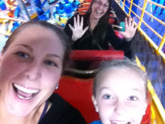 On the roller coaster with Grammy at West Ed Mall