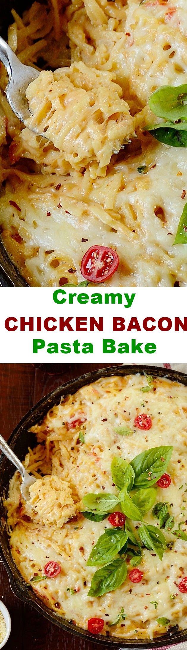 Creamy Chicken Bacon Pasta Bake