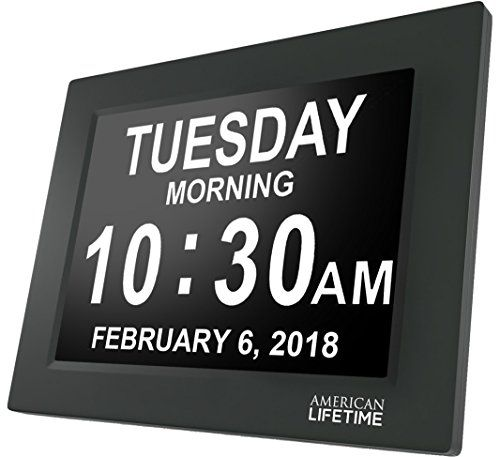 American Lifetime [Newest Version] Day Clock - Extra Large Impaired Vision Digital Clock with Battery Backup & 5 Alarm Options (Matte Black)