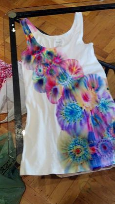 """Tie dye with Sharpies-make sure the Sharpie dye can be heat set. It wd be a disaster if the Sharpie ink ran and got on other clothes in the washing machine. Need to add label, """"HAND WASH SEPARATELY IN COLD WATER."""""""