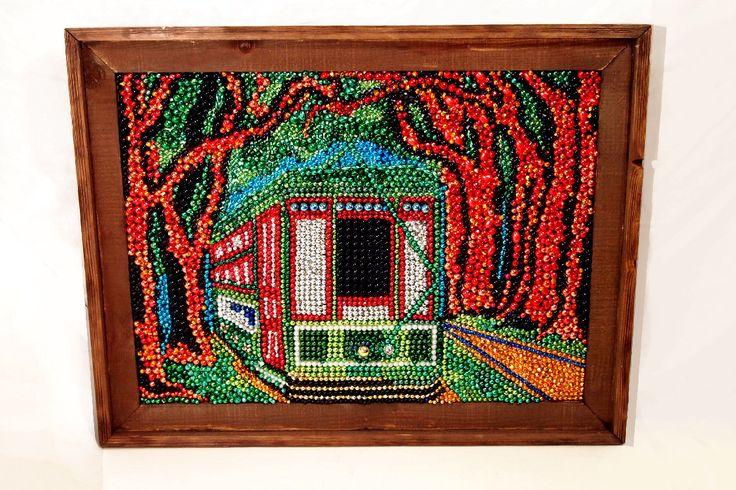 New Orleans Streetcar Mardi Gras Beaded Mosaic - New Orleans Art - St. Charles Street Car - 18x24