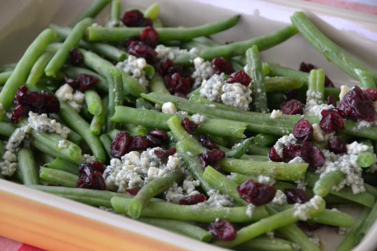 Green Beans with Cranberries and BlueCheese for Thanksgiving
