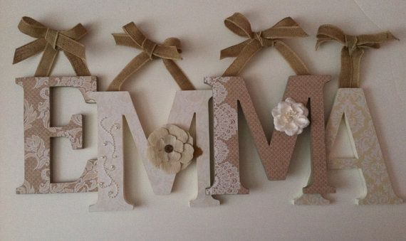 *PRICE IN LISTING IS PER 8 INCH LETTER Spell out your childs name with these adorable burlap and lace letters. These letters will look great