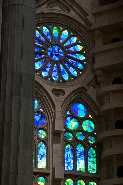 One of the stained glass windows in the Sagrada Familia, designed by Gaudi. Barcelona, Spain.