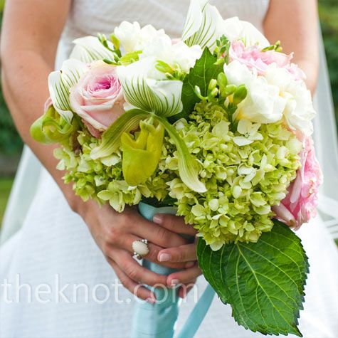 Green, Pink and White Bouquet