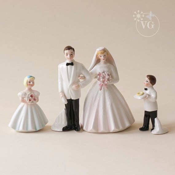 Vintage 1950's Wedding Figurines Wedding Cake by GuldenBrownGowns