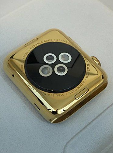 42MM Apple Watch 24K Karat GOLD plated w/ Space Black Link   PRODUCT Original Apple Watch Gen 1 stainless steel customized and professionally gold plated by De Billas with an industrial grade of authentic 24 Karat Gol