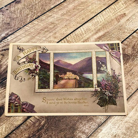 with a Novelty View pull out photo album a beautiful vintage Dainty Series postcard from ETW Dennis and Sons Edinburgh Good Luck postcard