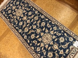 廊下敷きのペルシャ絨毯ナインブルー55417、ランナー絨毯、キッチンマットじゅうたん